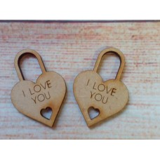 Laser Cut Padlock I LOVE YOU pack of 5